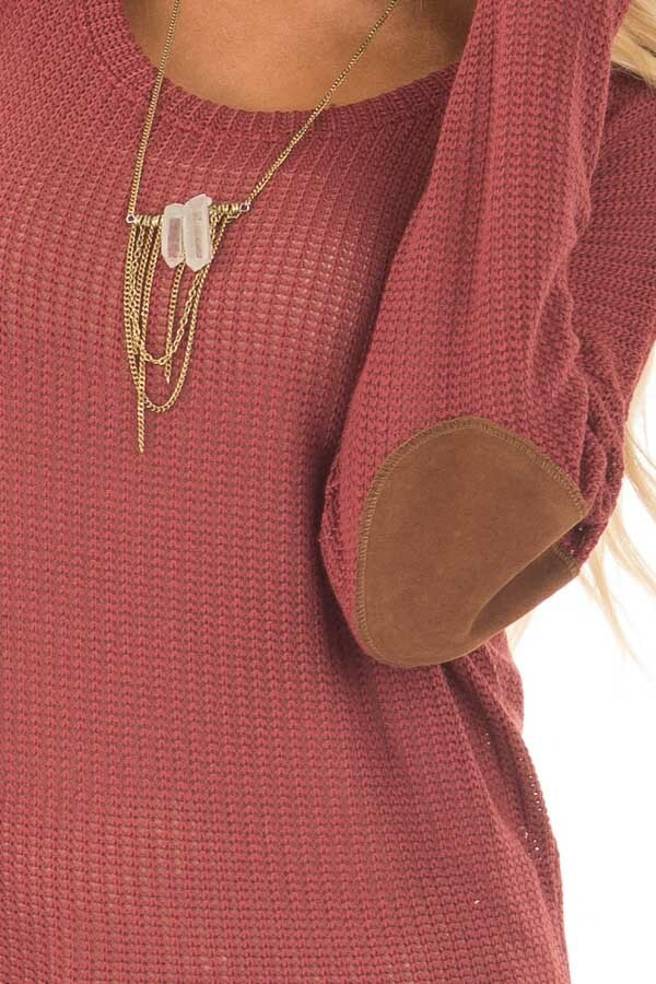 Brick Sweater with Suede Elbow Patches and Button Back detail