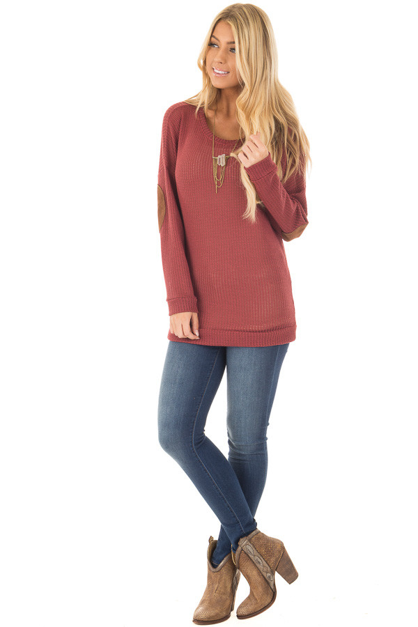 Brick Sweater with Suede Elbow Patches and Button Back front full body