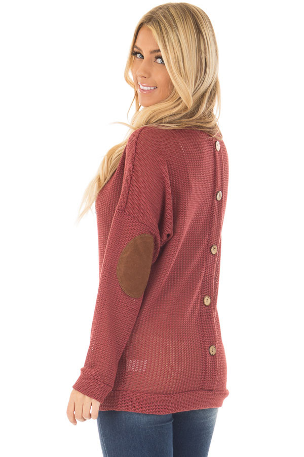Brick Sweater with Suede Elbow Patches and Button Back back side close up