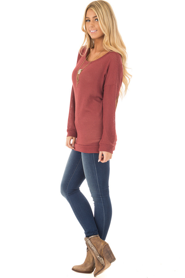Brick Sweater with Suede Elbow Patches and Button Back side full body