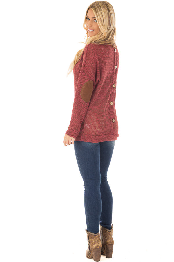 Brick Sweater with Suede Elbow Patches and Button Back back side full body