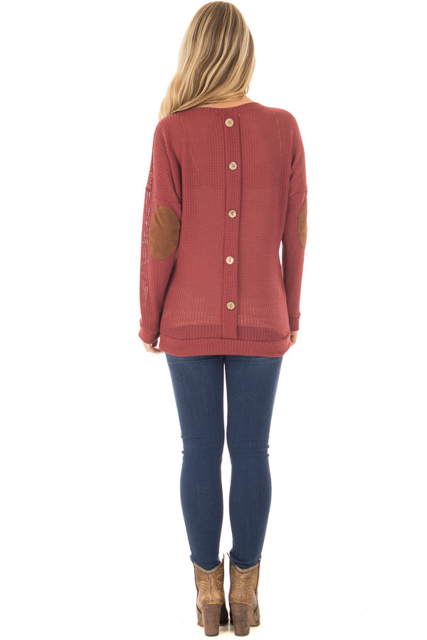 Brick Sweater with Suede Elbow Patches and Button Back back full body