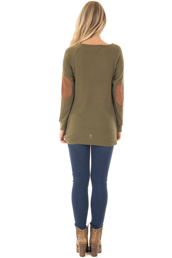Olive Waffle Knit Top with Faux Suede and Button Details back full body