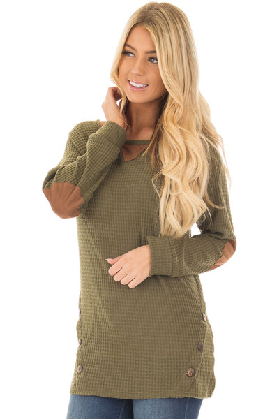 Olive Waffle Knit Top with Faux Suede and Button Details front close up