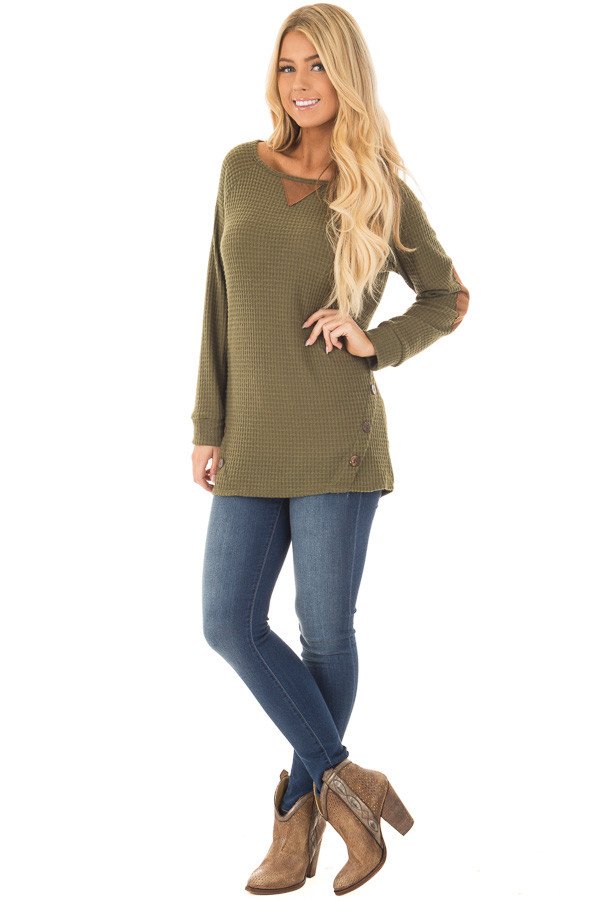 Olive Waffle Knit Top with Faux Suede and Button Details front full body