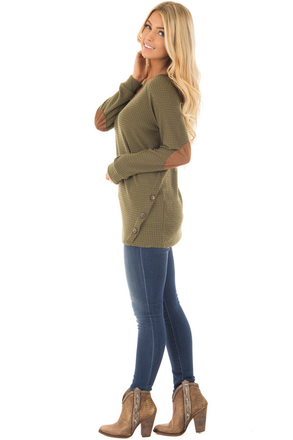 Olive Waffle Knit Top with Faux Suede and Button Details side full body