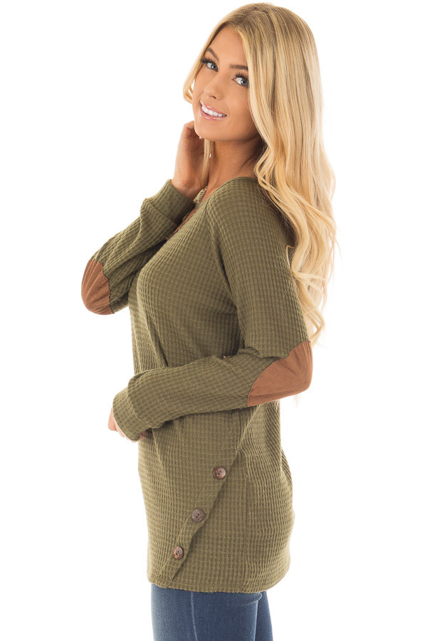 Olive Waffle Knit Top with Faux Suede and Button Details side close up