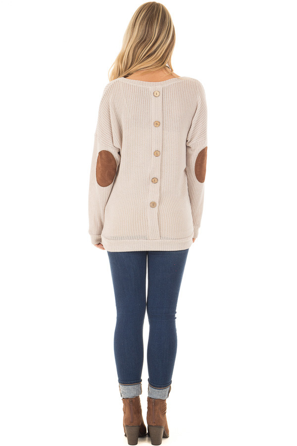 Taupe Sweater with Suede Elbow Patches and Button Back back full body
