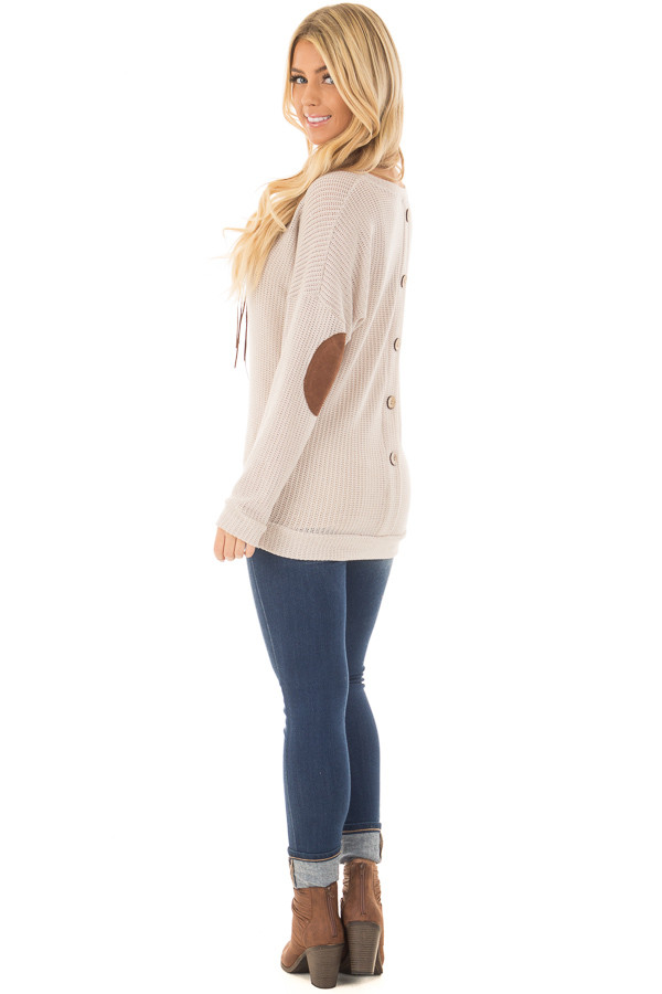 Taupe Sweater with Suede Elbow Patches and Button Back back side full body