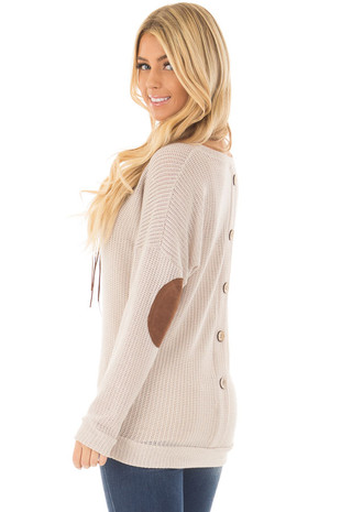 Taupe Sweater with Suede Elbow Patches and Button Back back side close up