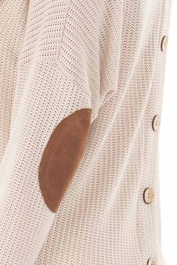 Taupe Sweater with Suede Elbow Patches and Button Back detail