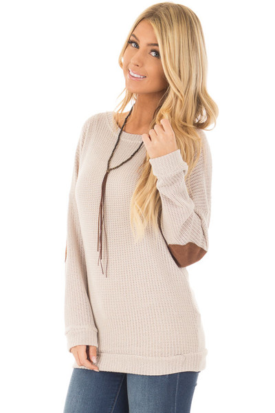 Taupe Sweater with Suede Elbow Patches and Button Back front close up
