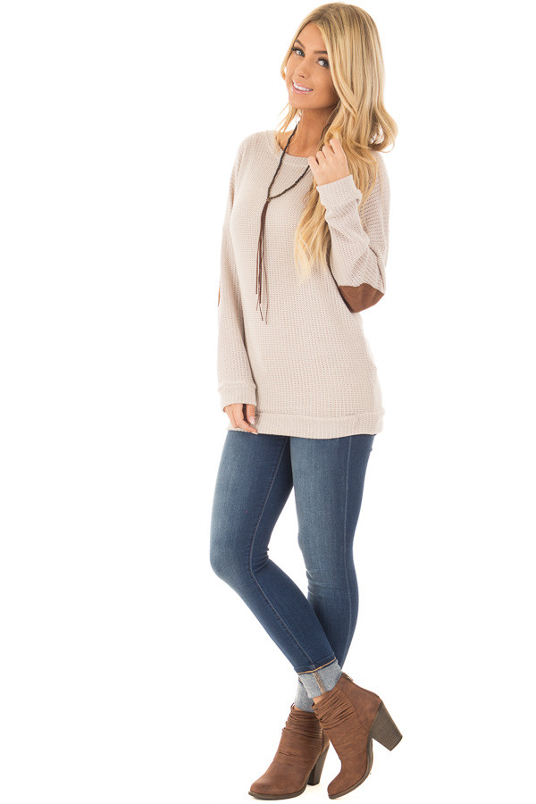 Taupe Sweater with Suede Elbow Patches and Button Back front full body