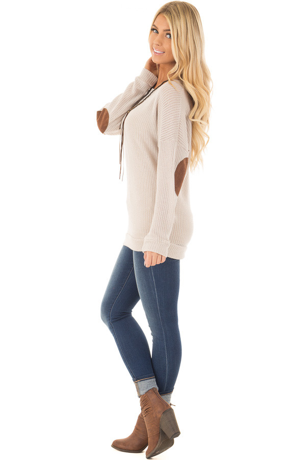 Taupe Sweater with Suede Elbow Patches and Button Back side full body