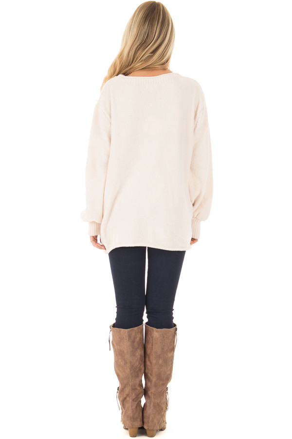 Oatmeal Soft Long Sleeve Knit Sweater back full body