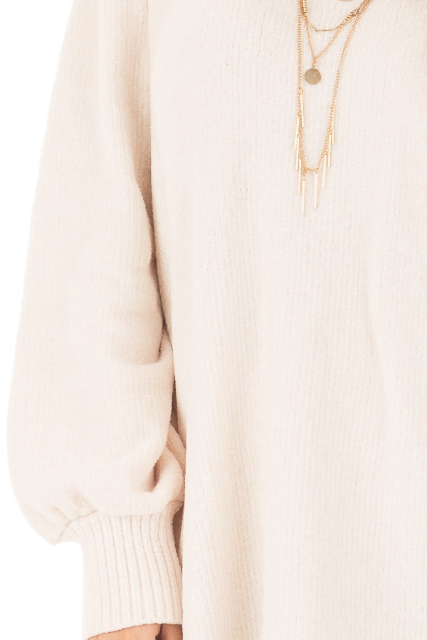 Oatmeal Soft Long Sleeve Knit Sweater detail