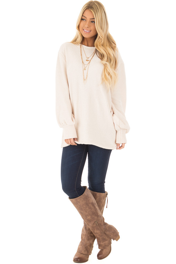 Oatmeal Soft Long Sleeve Knit Sweater front full body