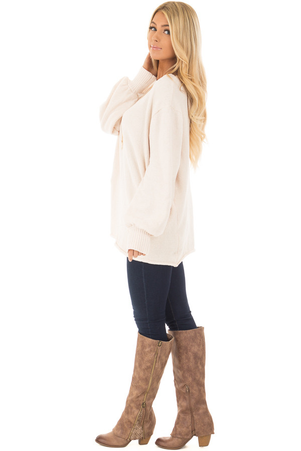 Oatmeal Soft Long Sleeve Knit Sweater side full body