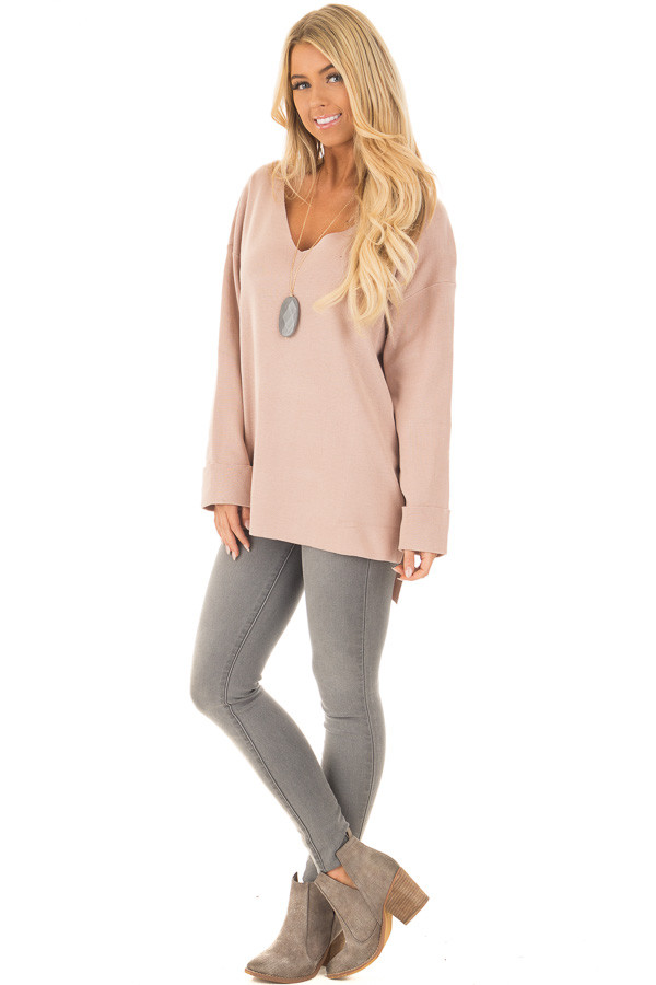 Blush V Neck Long Sleeve Hi Low Sweater with Folded Cuffs front full body