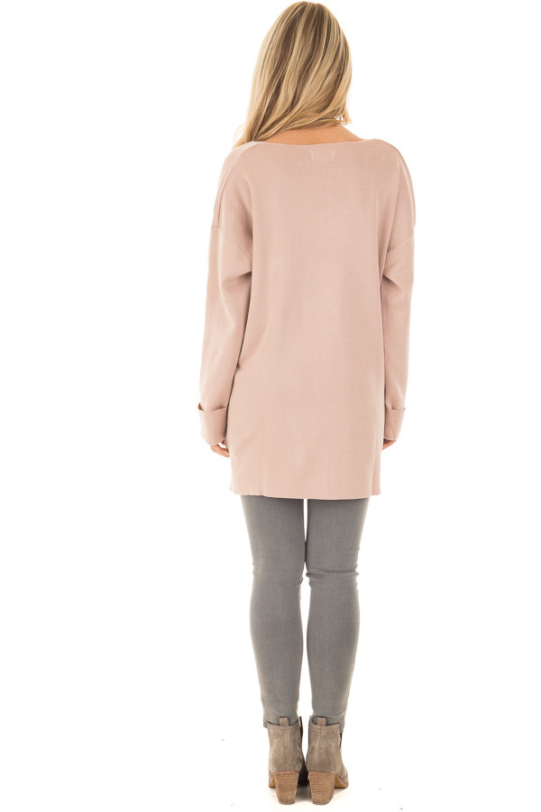 Blush V Neck Long Sleeve Hi Low Sweater with Folded Cuffs back  full body