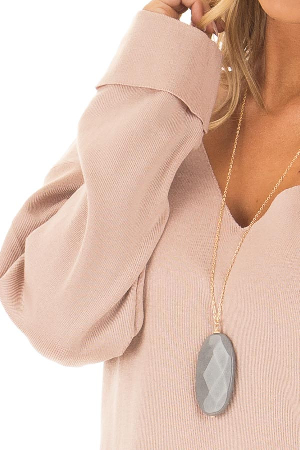 Blush V Neck Long Sleeve Hi Low Sweater with Folded Cuffs front detail