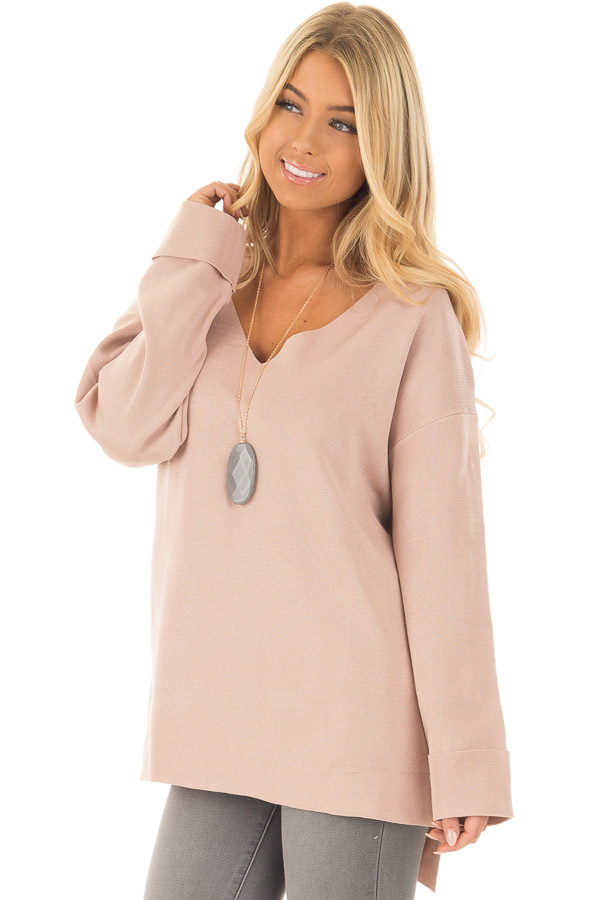 Blush V Neck Long Sleeve Hi Low Sweater with Folded Cuffs front closeup