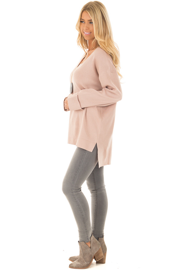 Blush V Neck Long Sleeve Hi Low Sweater with Folded Cuffs side full body