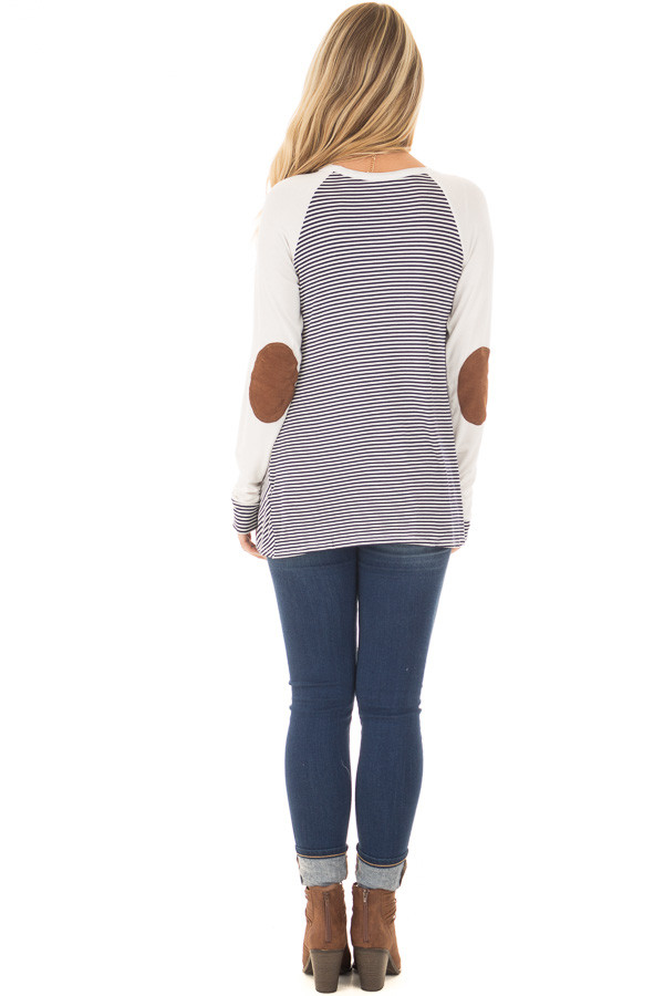 Navy and Ivory Striped Raglan Tee with Twist Detail back full body
