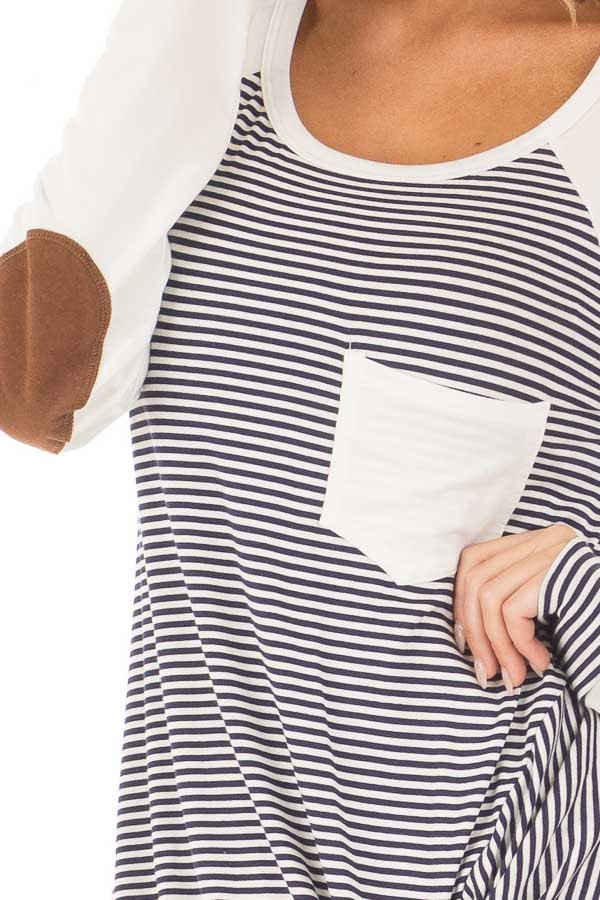 Navy and Ivory Striped Raglan Tee with Twist Detail detail