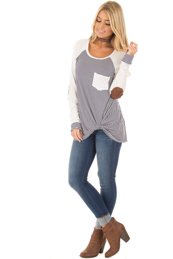 Navy and Ivory Striped Raglan Tee with Twist Detail front full body