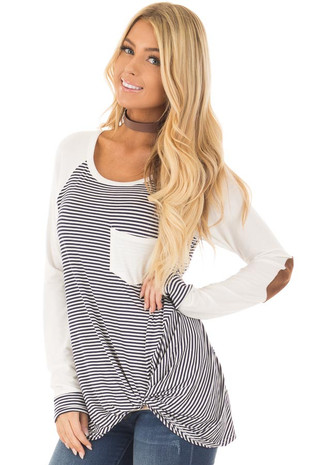 Navy and Ivory Striped Raglan Tee with Twist Detail front close up
