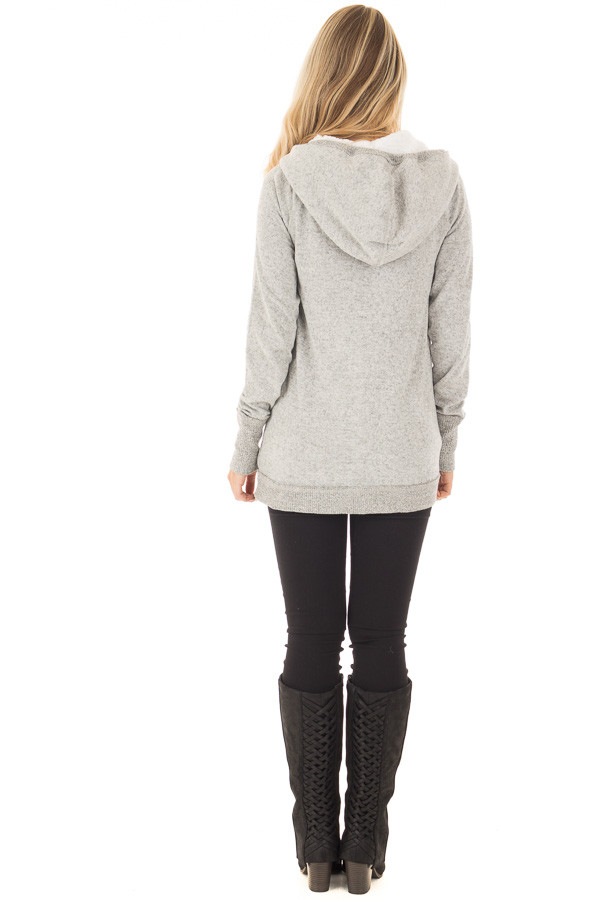 Heather Grey Soft Hoodie with Faux Fur Hood and Wine Details back full body