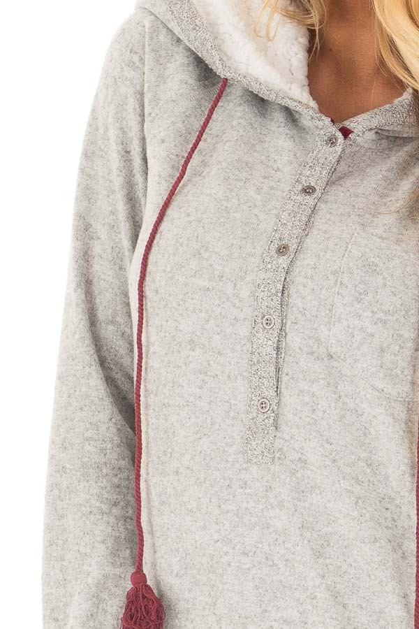 Heather Grey Soft Hoodie with Faux Fur Hood and Wine Details detail