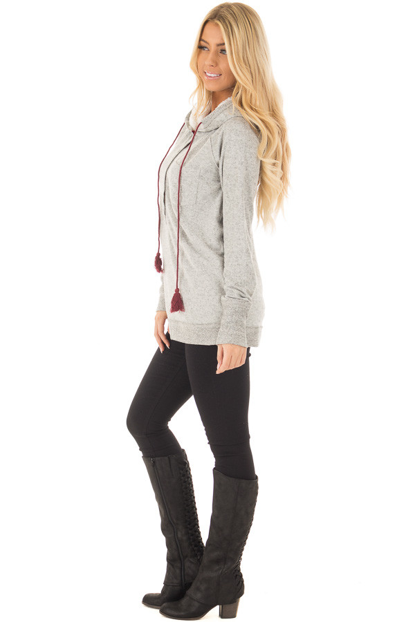 Heather Grey Soft Hoodie with Faux Fur Hood and Wine Details side full body