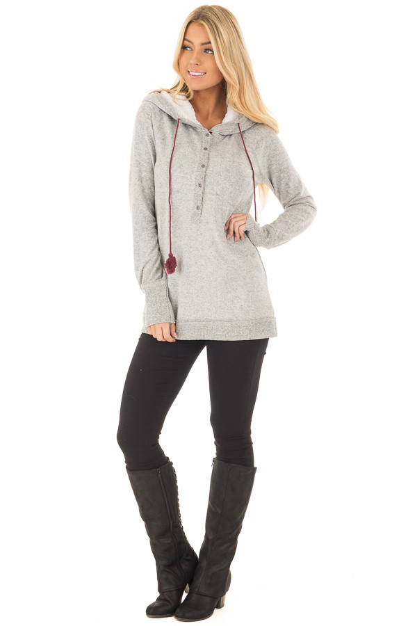 Heather Grey Soft Hoodie with Faux Fur Hood and Wine Details front full body