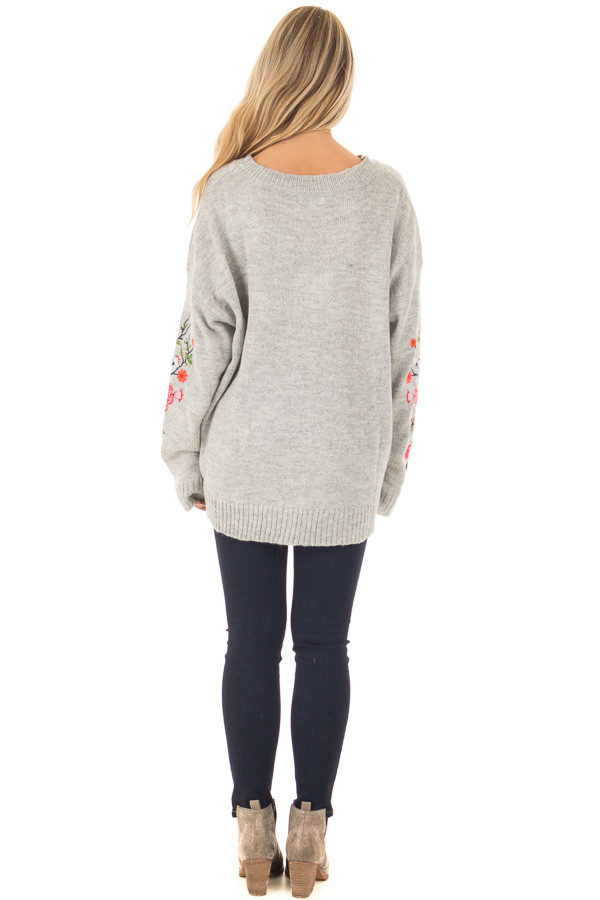 Heather Grey Sweater with Floral Embroidery Detail back full body