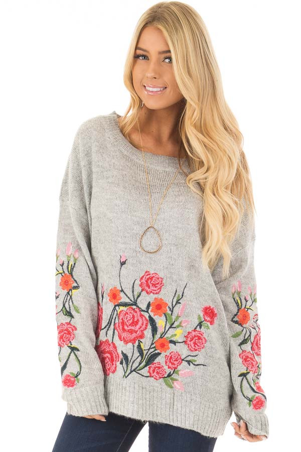 Heather Grey Sweater with Floral Embroidery Detail front close up
