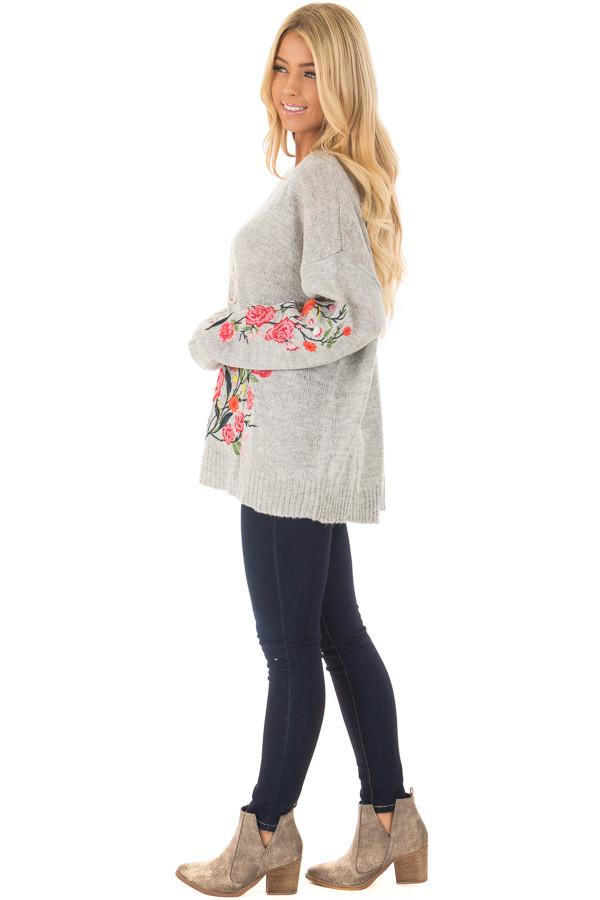Heather Grey Sweater with Floral Embroidery Detail side full body