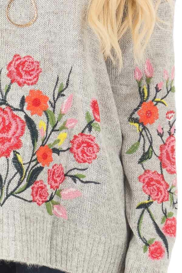 Heather Grey Sweater with Floral Embroidery Detail detail