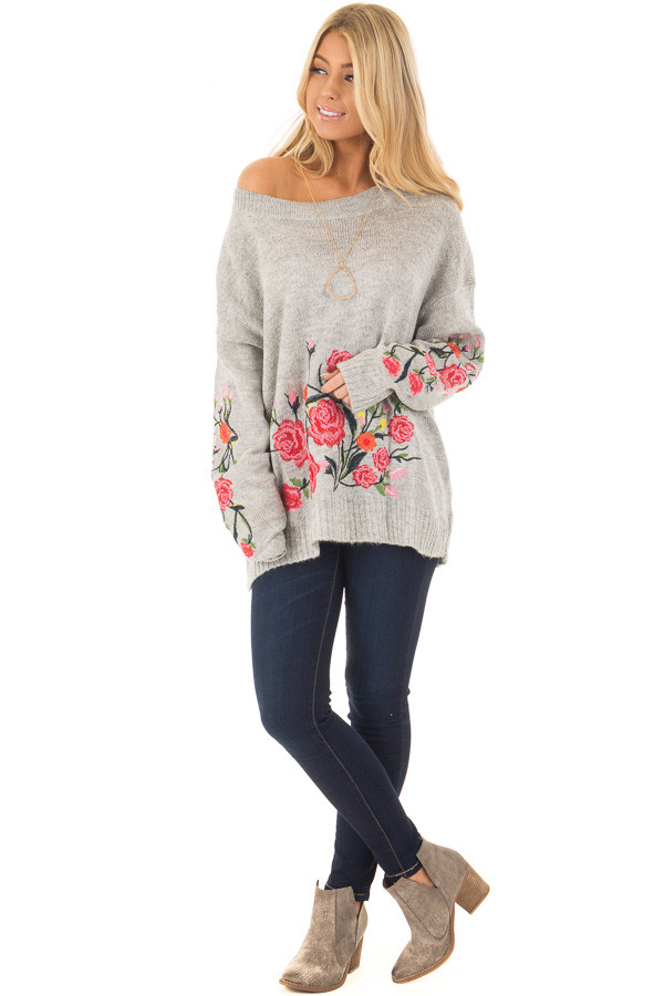 Heather Grey Sweater with Floral Embroidery Detail front full body