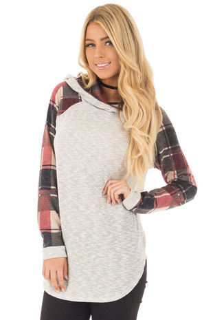 Heather Grey Hoodie with Burgundy Raglan Sleeve Top front close up
