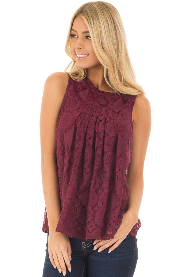 Burgundy Sheer Lace Sleeveless Top front close up