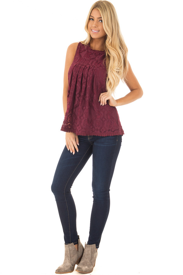 Burgundy Sheer Lace Sleeveless Top front full body