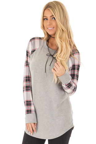 Heather Grey Top with Plaid Long Sleeves front close up