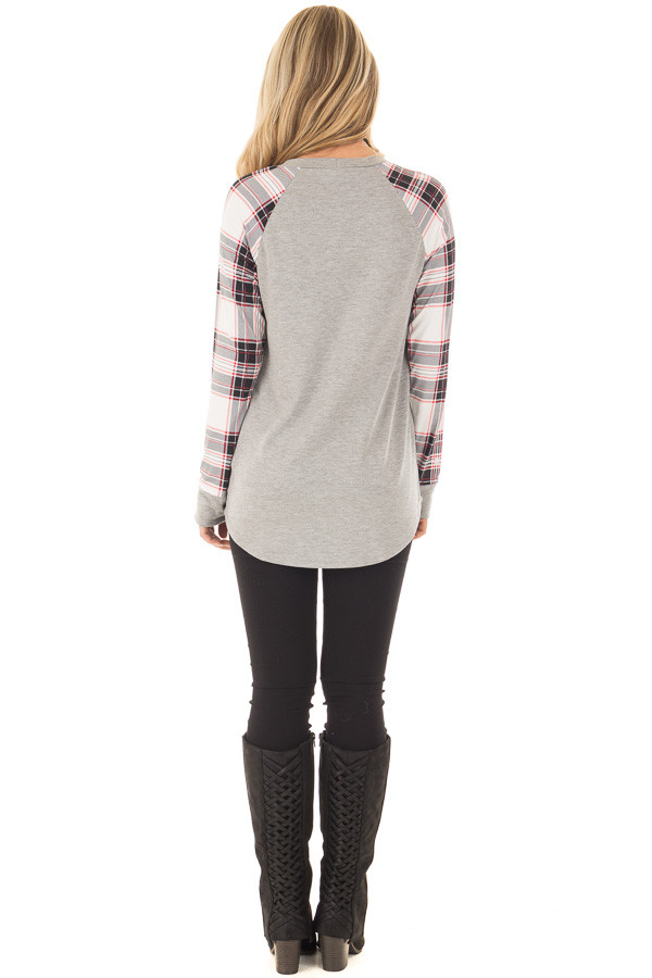 Heather Grey Top with Plaid Long Sleeves back full body