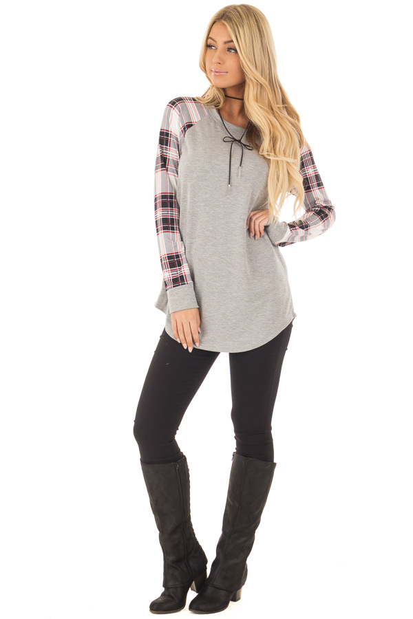 Heather Grey Top with Plaid Long Sleeves front full body