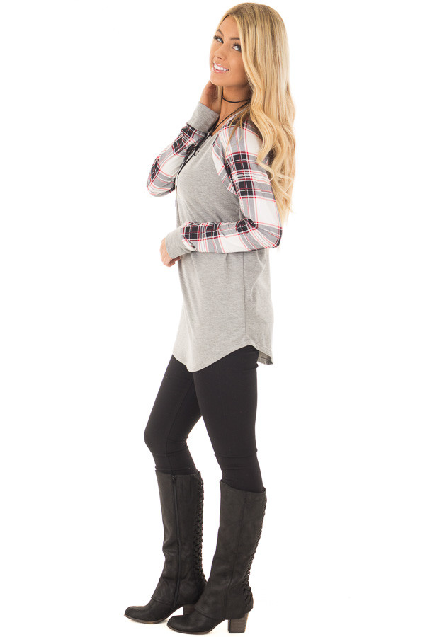 Heather Grey Top with Plaid Long Sleeves side full body