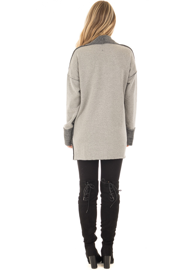 Heather Grey Cardigan with Super Soft Charcoal Lining back full body