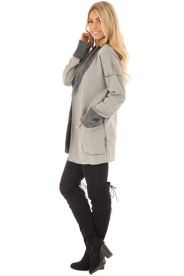 Heather Grey Cardigan with Super Soft Charcoal Lining side full body