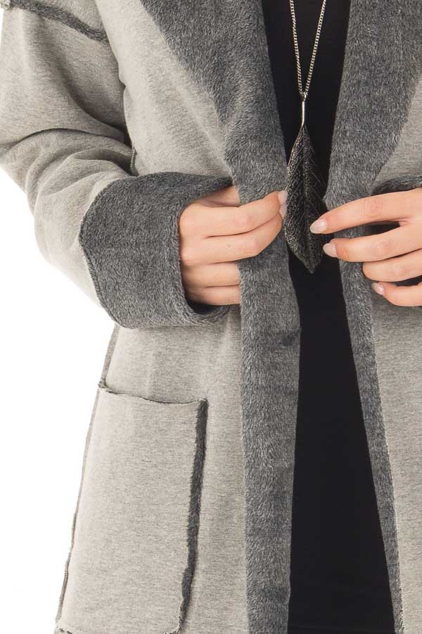 Heather Grey Cardigan with Super Soft Charcoal Lining detail